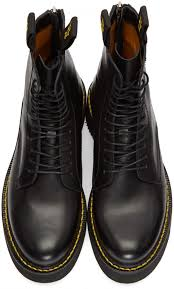 mens r13 boots black leather lace up boots black black