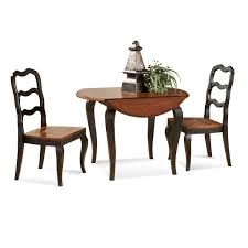 small round double drop leaf dining table with 2 ladder dining chairs painted with dark brown color for very small dining spaces ideas
