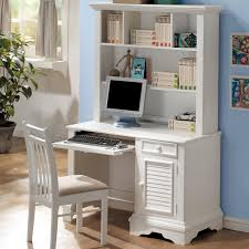 large white wooden computer desk with printer shelf