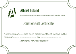 Making A Certificate Honour Donation And Gift Certificate Promoting Atheism Reason And