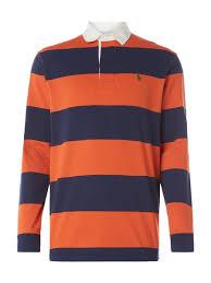 polo ralph lauren rugby shirt mit blockstreifen orange 1