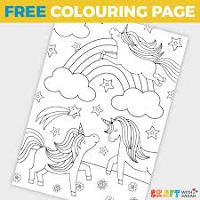 Free unicorns coloring page to download. Free Rainbow Unicorns Coloring Page For Kids Craft With Sarah