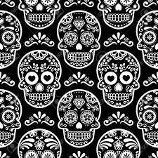 Skull Pattern Magnificent Mexican Sugar Skull Vector Seamless Pattern On Black Halloween