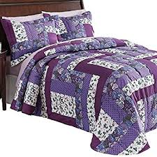 Amazon.com: Caledonia Lavender Floral Patchwork Quilted Medium ... & Caledonia Lavender Floral Patchwork Quilted Medium-Weight Bedspread, Purple,  Queen Adamdwight.com