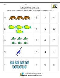 Kindergarten Math Worksheets Printable - One Morekindergarten number worksheets one more 5