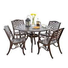 Amazon com hallandale outdoor furniture dining set cast aluminum table and chairs for patio or deck 5 piece set garden outdoor