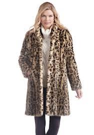 leopard signature knee length faux fur coat