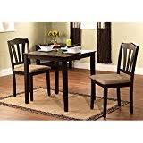 three piece dining set: harewood  piece dining set constructed of sturdy rubber wood with microsuede upholstered seats