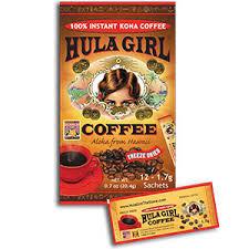 Hula daddy kona coffee, holualoa, hi. Amazon Com Hula Girl 100 Instant Kona Coffee Box 1 7 Gram Grocery Gourmet Food