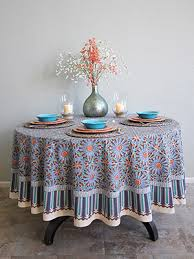 mosaique bleue moroccan tile print blue round tablecloth