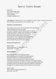 Sample Sports Resume Great Sample Resume Resume Samples Sports Trader Resume Sample