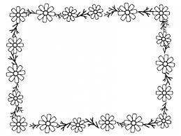 コスモスの花と葉の囲み白黒フレーム飾り枠イラスト 無料イラスト