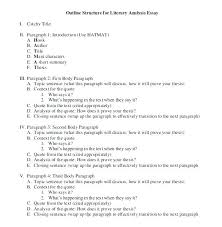 Outline Examples For Essay Example Of Essay Outline Literary