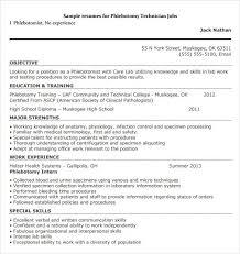 Entry Level Phlebotomy Resume Examples