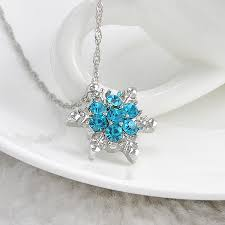 charm vintage lady blue crystal snowflake zircon flower silver necklaces pendants jewelry for women