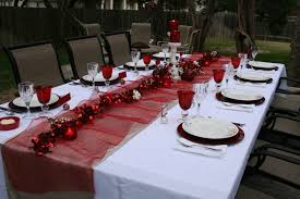 Remarkable Design Party Table Setting Comes With Rectangle Shape Featuring  White And Mesh Red Color. Ideas ...