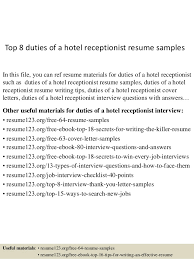 top 8 duties of a hotel receptionist resume samples in this file hotel receptionist resume sample