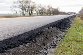 Layer Of New Laid Asphalt Road Construction Close Up