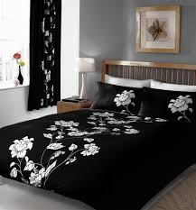 super kingsize duvet set black white flowers quilt cover bed set