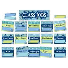 Classroom Assignment Chart Eu 847776 Blue Harmony Job Chart Mini Bulletin Board Set Classroom Decorations