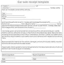 Auto Sales Reciept Used Car Sale Receipt Template Vehicle Invoice Automobile Private