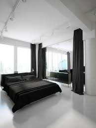 f modern black and white bedroom design with cool track lighting plus large black fabric pinch pleat curtains as well as queen size beds on white laminate black white bedroom cool