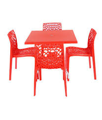 garden table and chair sets india. supreme set of 4web chair + 1 olive foldable table - red garden and sets india