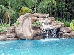 Slides With Stone Waterfall For Inground Pools Rock Waterfalls Rock