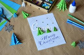 Homemade Greeting Card Design Making Greeting Card With Origami 3d Xmas Tree From Paper