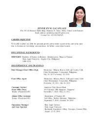Resume Format For Ojt Sample Tourism Students Accurate Portrait More