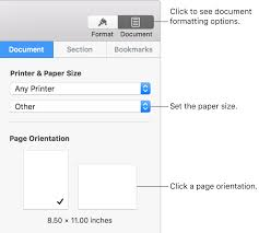 Paper Size Chart Pdf Set Paper Size And Orientation In Pages On Mac Apple Support