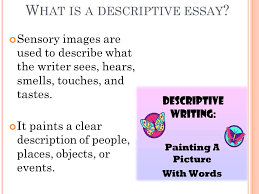 t ypes of w riting expository persuasive descriptive narrative  w hat is a descriptive essay