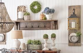 farmhouse dining room makeover easy planked wall diy hanging lantern display vintage mantel