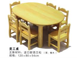 2017 latest high quality kids wooden round art table in kindergarten and preschool