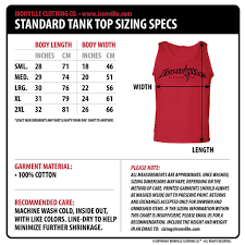 Tank Charts By Dimensions Ironville Size Charts Size Chart Tank Tops Tops
