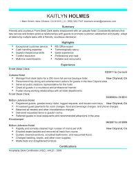 hotel front desk resume sample