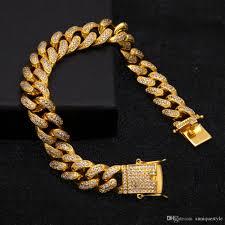 hip hop bracelet auniquestyle luxury 18 k gold color women men s bracelet miami curb cuban chain iced out paved rhinestones jewelry hip hop bracelet men