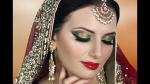 traditional indian bridal makeup tutorial red gold green asian