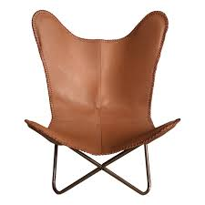 ashton brown leather erfly chair
