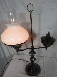 large vintage student electric brass hurricane lamp with milk glass lamp shade