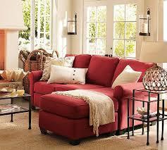 red sofa living room