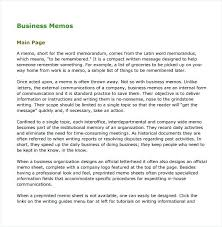 Memo Example Business Download Company Memo Template Inter Format Formal