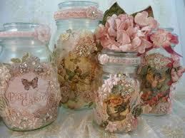 Altered mason jars in pink Victorian florals.: