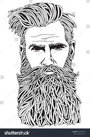 Small Picture Bearded Hipster Man Coloring Book Page Stock Illustration