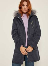 navy luxe boyfriend coat 169 00 indigo faux fur cotton parka 189 00