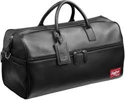 rawlings black leather travel duffle bag 21 x11 x10