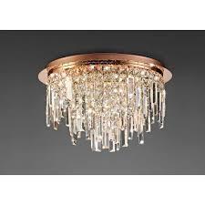 diyas il31711 maddison ceiling round 6 light g9 rose gold crystal