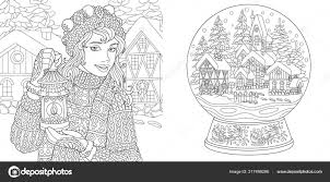 Coloring Pages Coloring Book Adults Colouring Pictures Winter Girl