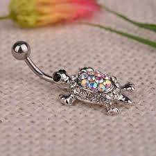 1pcs Crystal Turtle Dangle Body Piercing Navel Belly Button Ring Bar Women Dance Ring Multicolor