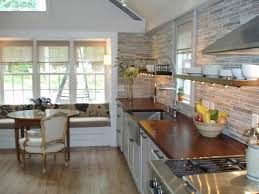 cozy kitchen gathering room with custom wood countertops floating shelves contemporary kitchen portland maine